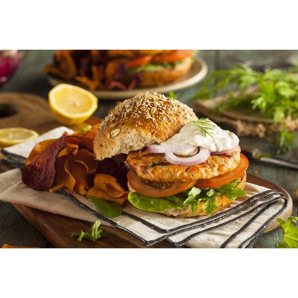 A salmon burger is a low-calorie, low-fat alternative to beef burgers.