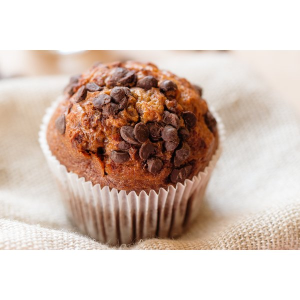 A close-up of a chocolate chip muffin.