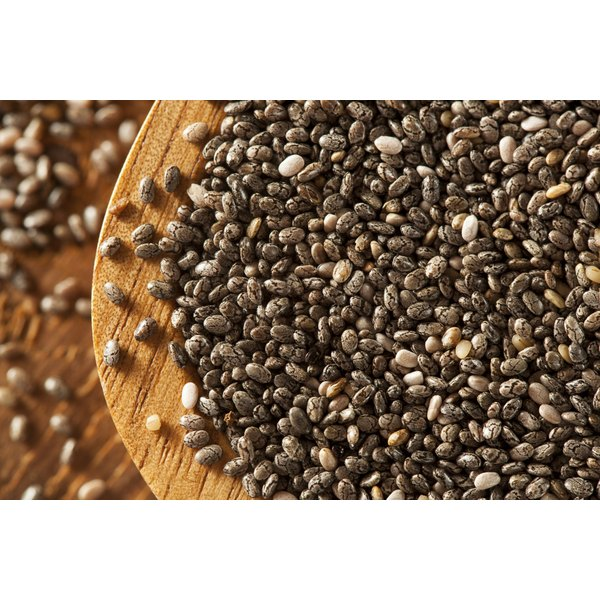 Dry black and white chia seeds.