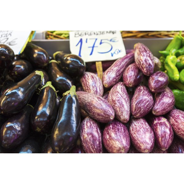 Eggplants for sale at a market.