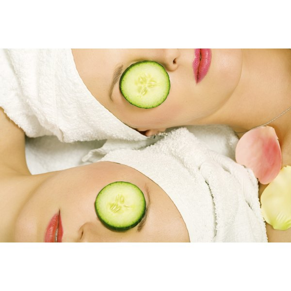 Chilled cucumber slices, tea bags and egg white may reduce puffy eye bags.