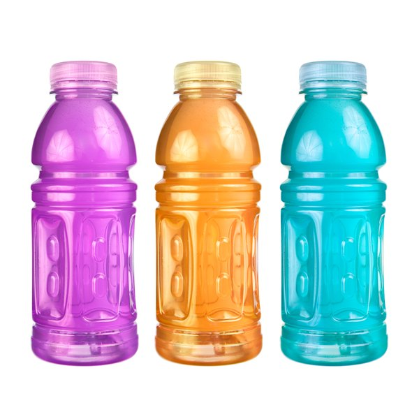Three bottles of different flavored sports drinks on a white background.