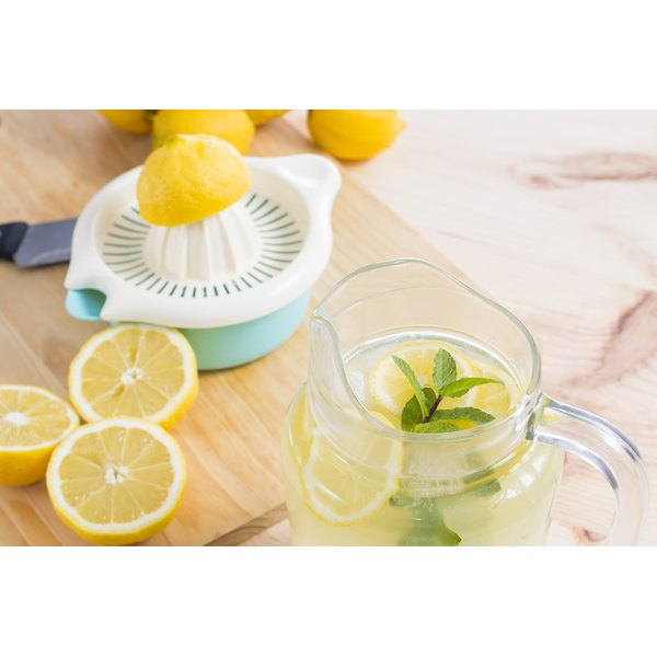 A pitcher of freshly squeezed lemonade in the kitchen.