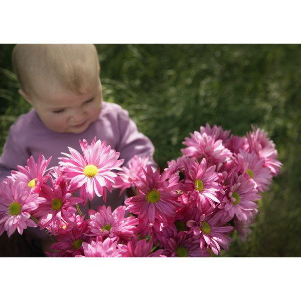 A little girl baby sitting outside with pink flowers.