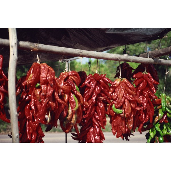 Chili peppers are commonly hung for decoration while drying.