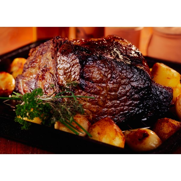 Cooked roast in pan.