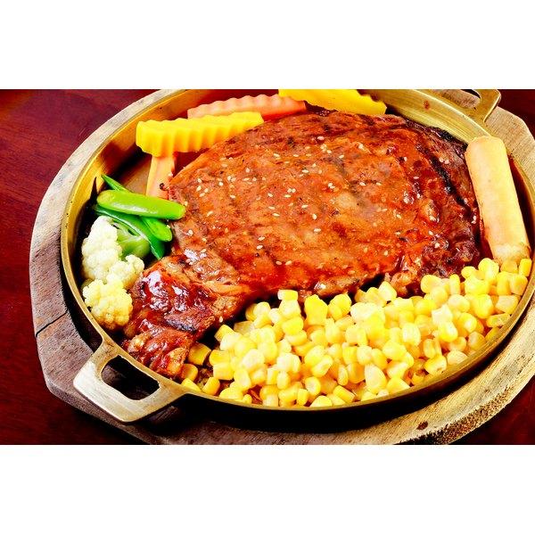 A flank steak on a plate.