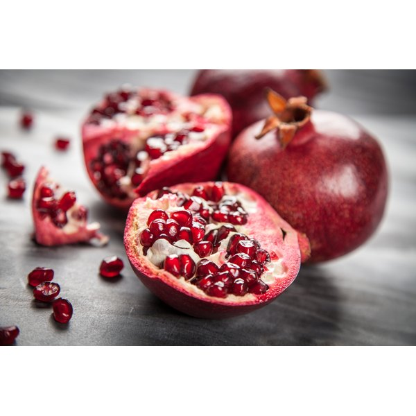 Opened pomegranates ready to be eaten.