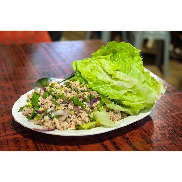 A healthy Asian lettuce wrap.