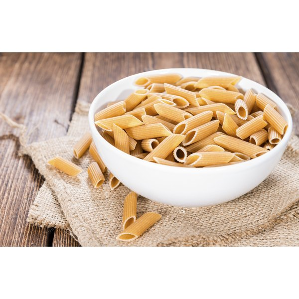 A large bowl of whole grain pasta.