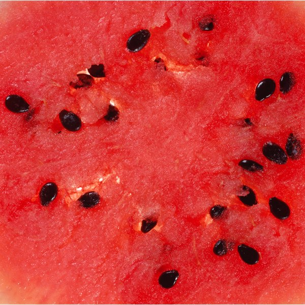 Close-up of a watermelon's flesh with seeds.