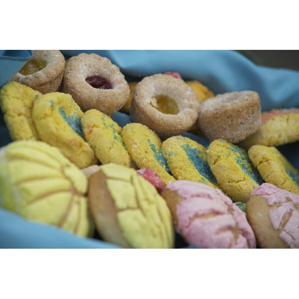A tray with colorful pastries.