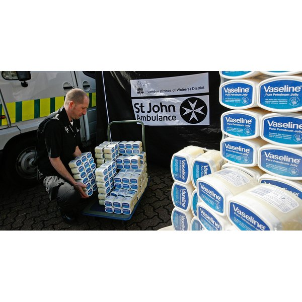 Vaseline containers being unloaded in London, England