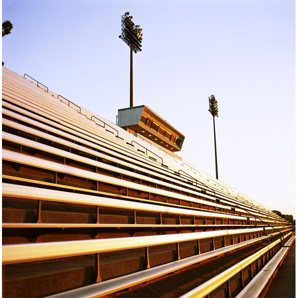 Close-up of stadium seats at football stadium.