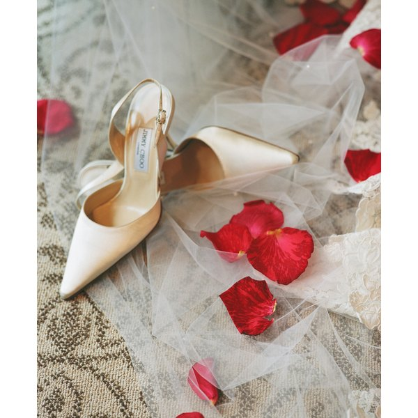 Add matching bridal lace to your wedding shoes with lace applique.