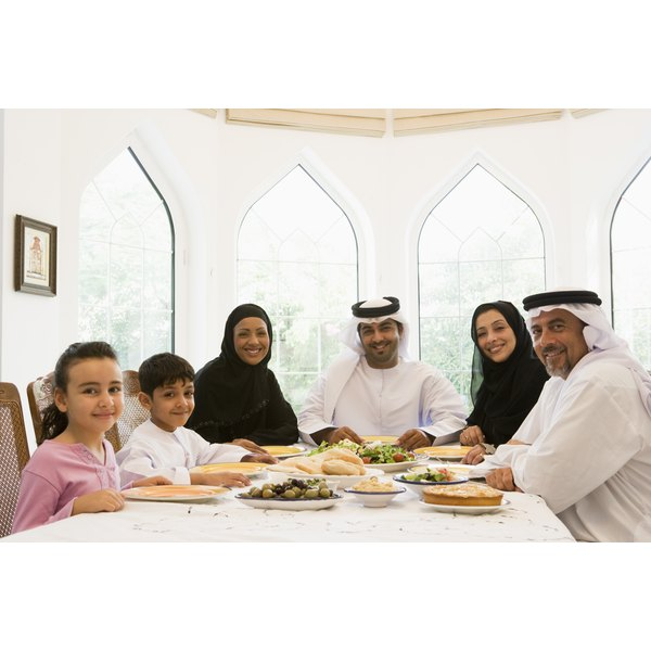 An Arabic family eating at the dinner table.