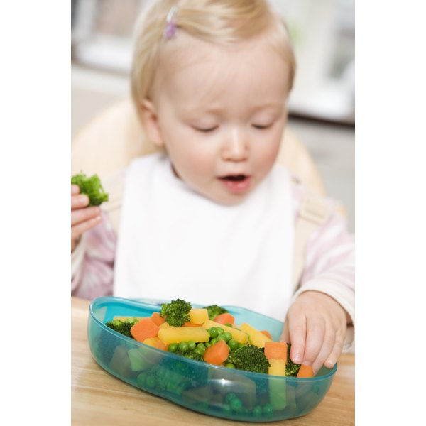 Vegetables, cooked to a soft texture, make an ideal, healthy finger food for toddlers.