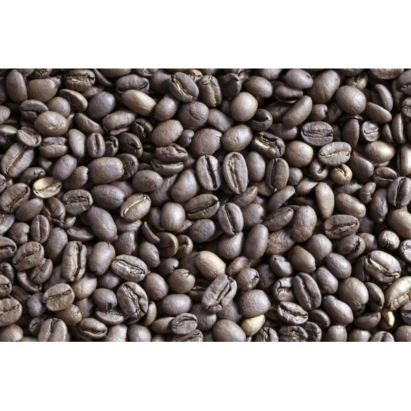 Coffee beans in a pile.