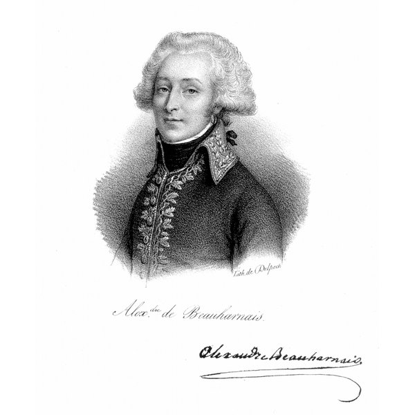 By the middle of the 18th century, short wigs, such as the one shown here worn by Alexandre de Beauharnais, were common.