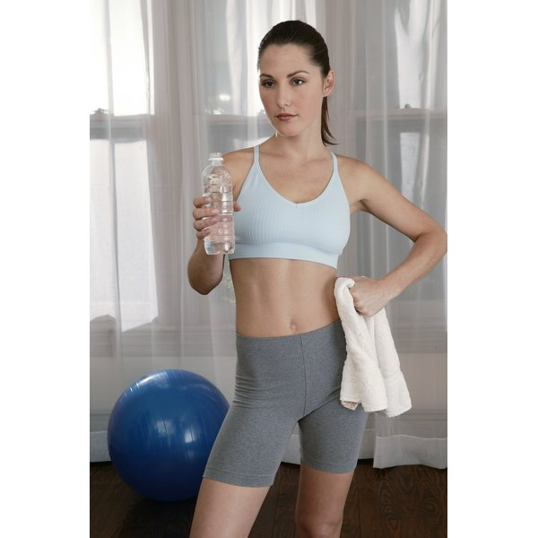 Women workout in exercise clothing made with a spandex blend.