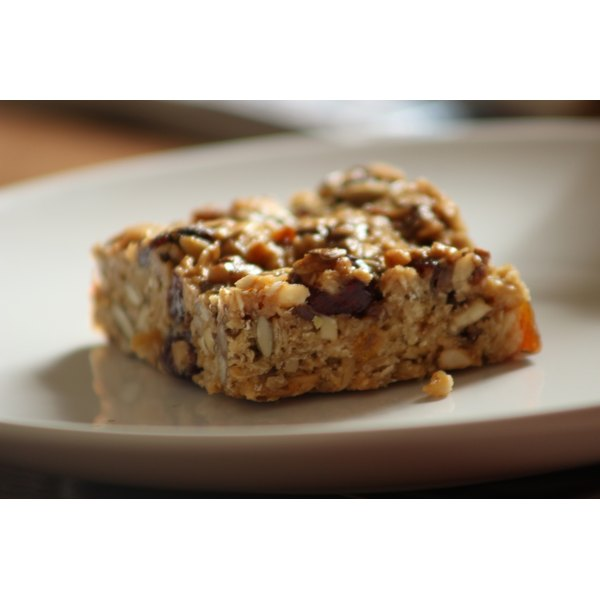 A protein bar on a plate.