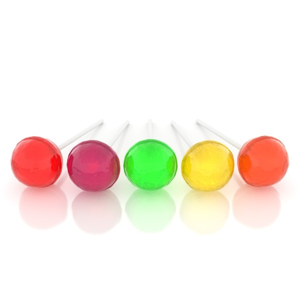 Colorful Power-Pops on a shiny, white surface.