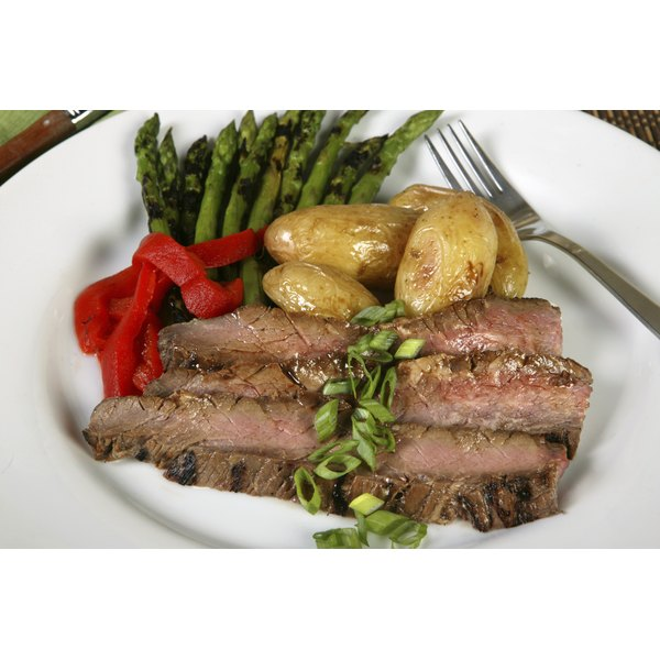 Sliced London broil steak on a plate.