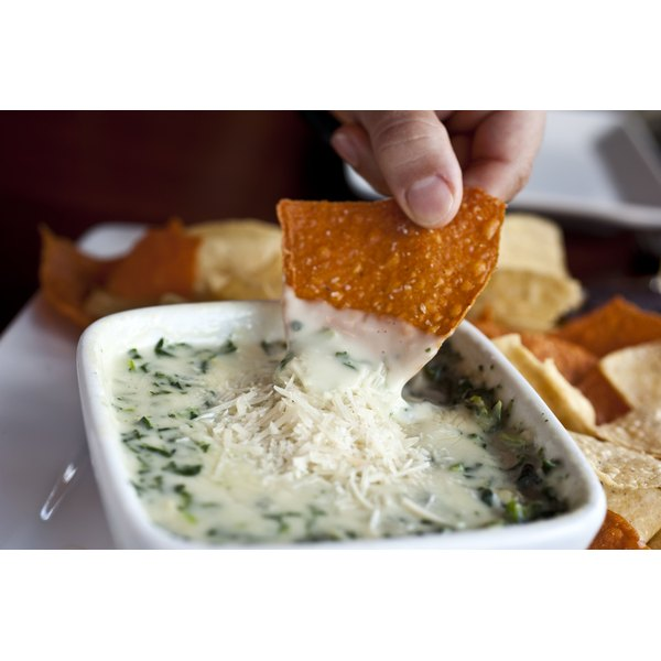 Spinach and cheese dip served with tortilla chips.