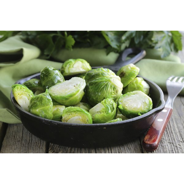 A large bowl of brussels sprouts.
