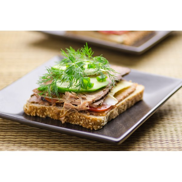 A healthy open faced whole grain sandwich.