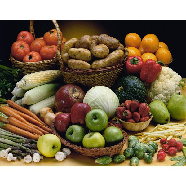 A large variety of fruits and vegetables