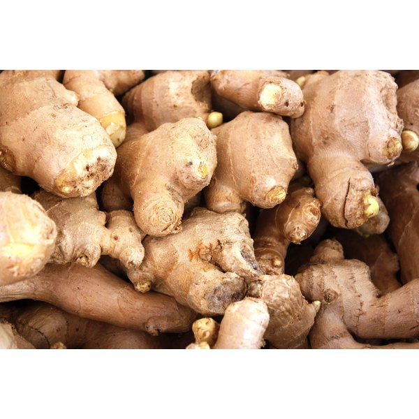 Ginger roots for sale at a market.