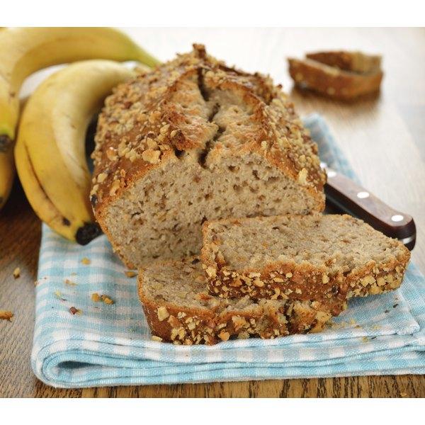 A loaf of sliced banana bread.