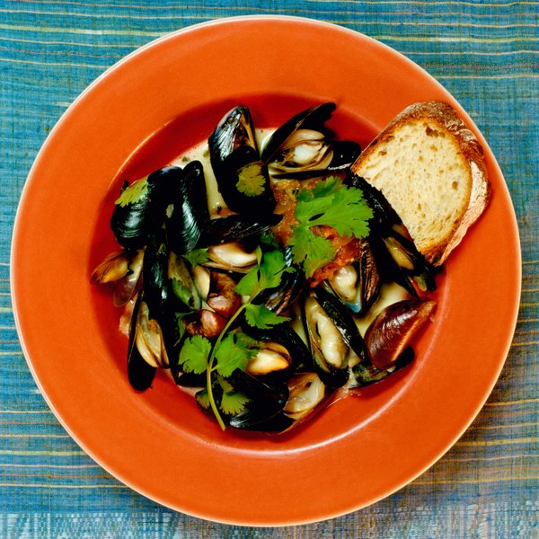 Freshly steamed mussels are fit to enjoy by themselves.