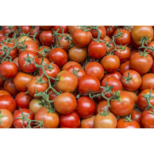 Tomatoes for sale at a market.