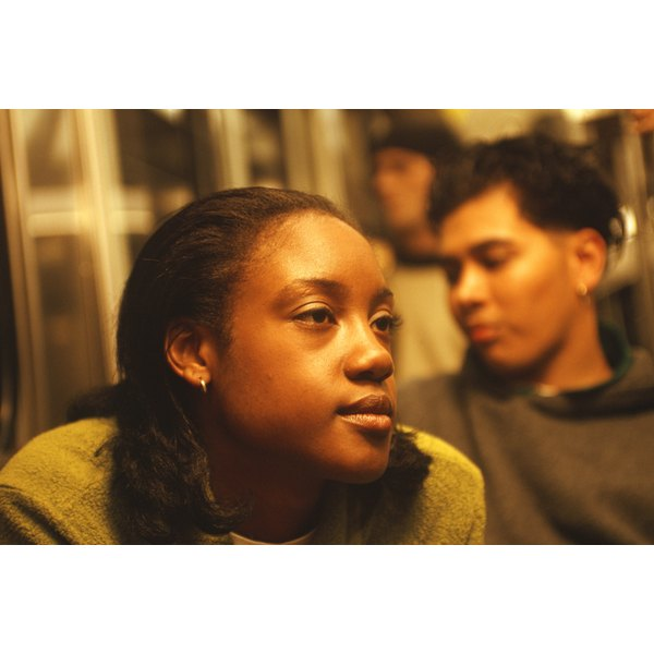 Teenager girl on subway