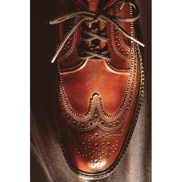 Burnished, brown leather shoes can be polished up nicely, without ruining the texture.
