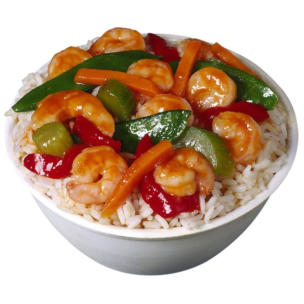 Hibachi dinners typically include protein, vegetables and noodles or rice.