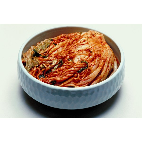 Kimchi is fermented, seasoned cabbage, a staple of Korean cuisine.