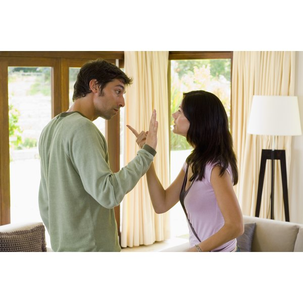 Keep conversations cordial and brief with an angry spouse during a divorce.