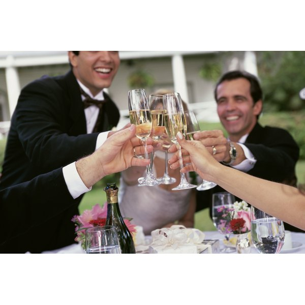 Toasting is a traditional part of a wedding reception.