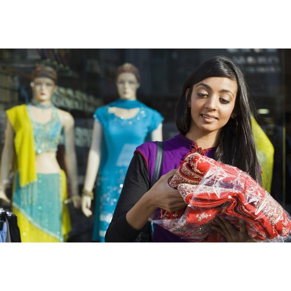 Saris are made of brightly colored fabrics and make great costumes.