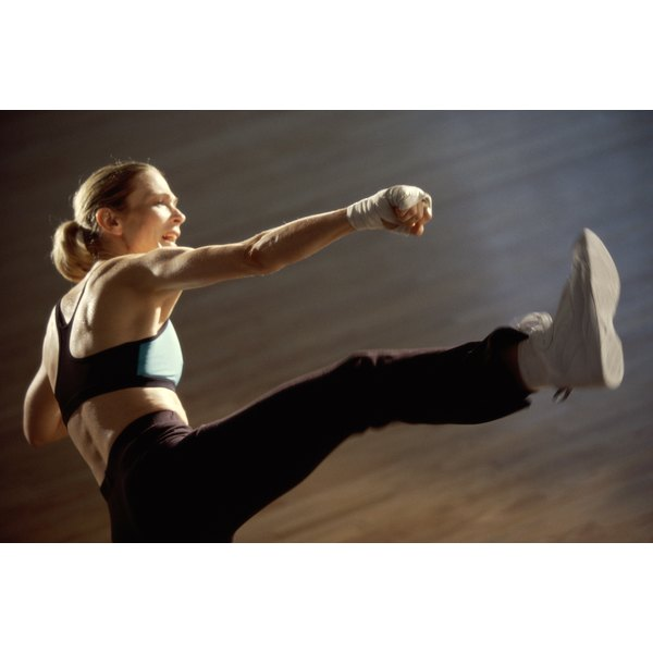 Woman doing kickboxing move