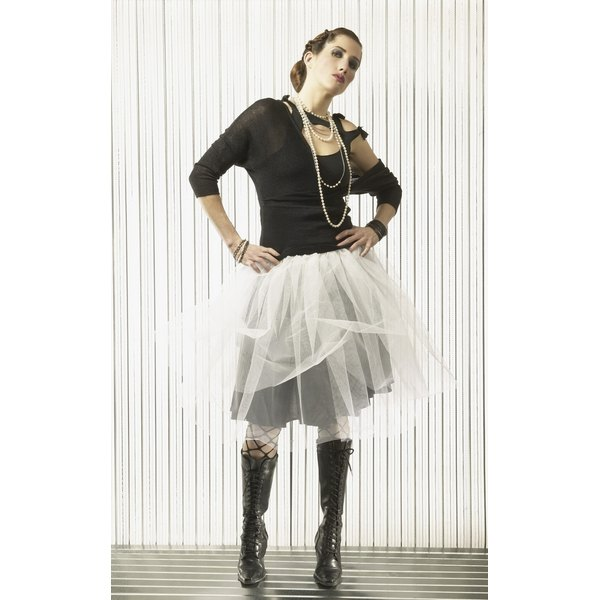 "Make a tattered ""tutu"" skirt using strips of one or many colors of tulle."