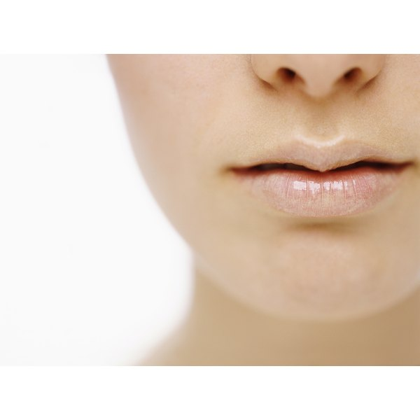 Close up of woman's soft lips.