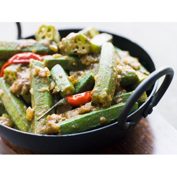 A spicy okra dish in a pot.