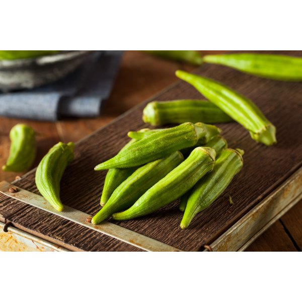 Whole okra pods cook tender and crisp in the microwave.
