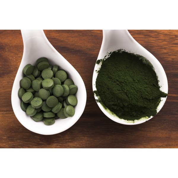 Two spoonfuls of blue-green algae powder and supplements.