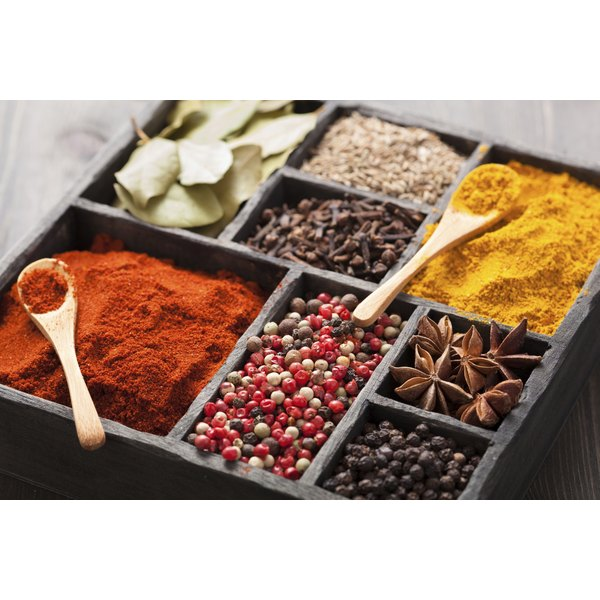 A box of assorted spices from around the world.