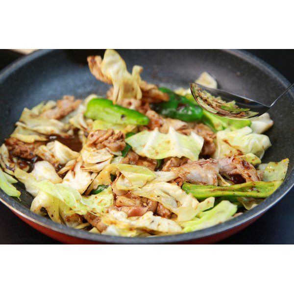A pan of stir fried vegetables.